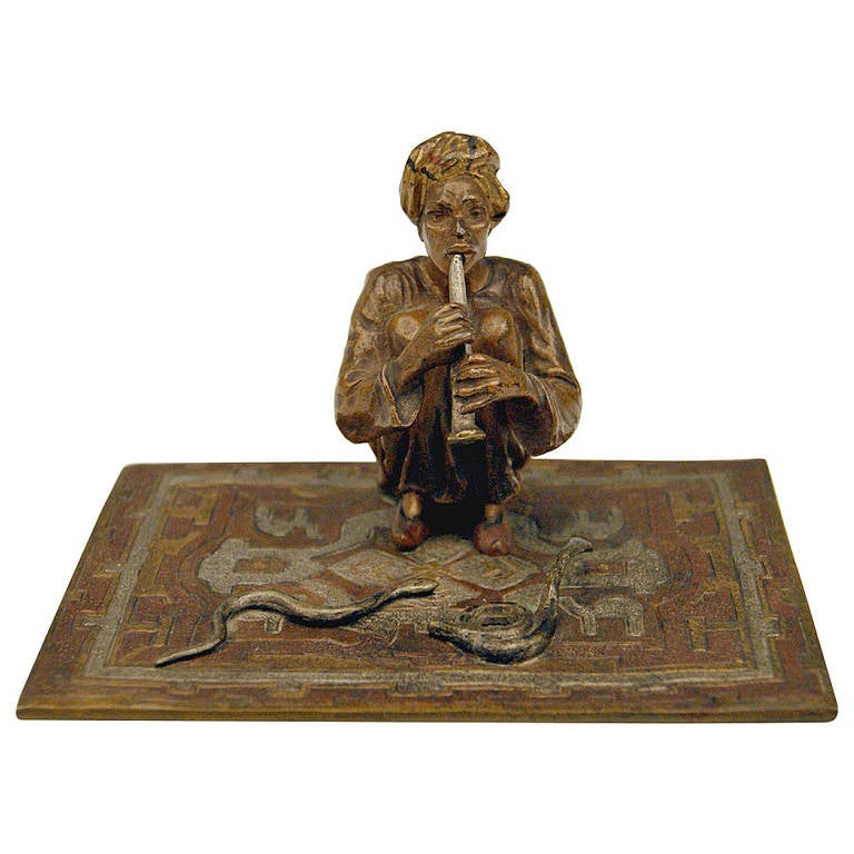 vienna bronze made by franz bergmann of an arab man as snake charmer at 1stdibs. Black Bedroom Furniture Sets. Home Design Ideas