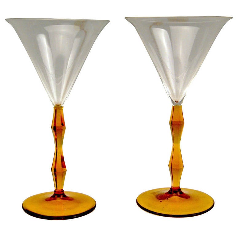 Art Deco Set of Two Liqueur Glasses by Josef Hoffmann, Made circa 1920 For Sale