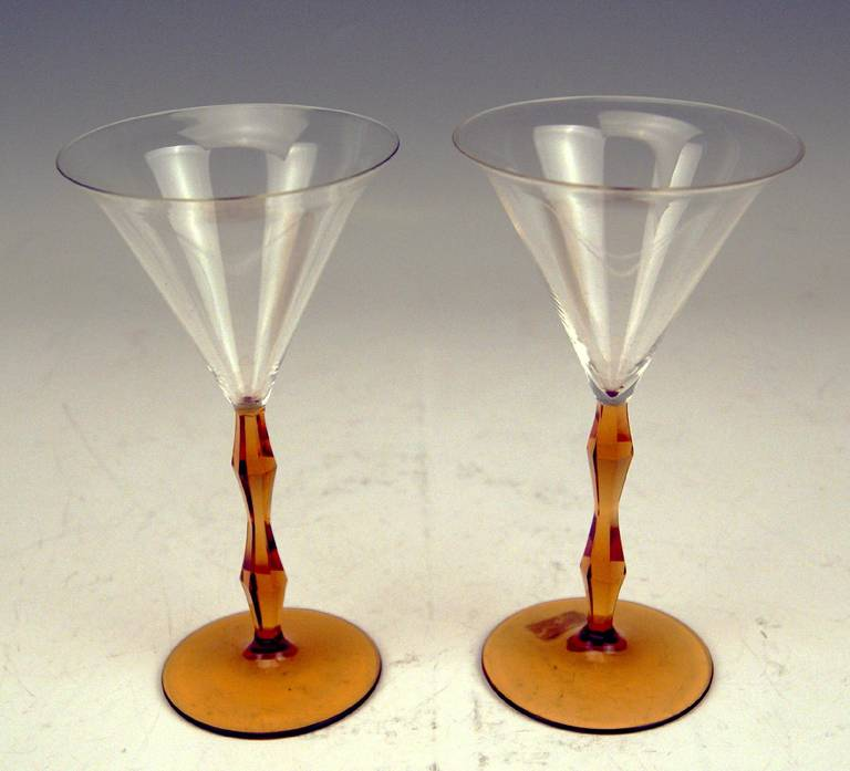 Austrian Art Deco Set of Two Liqueur Glasses by Josef Hoffmann, Made circa 1920 For Sale
