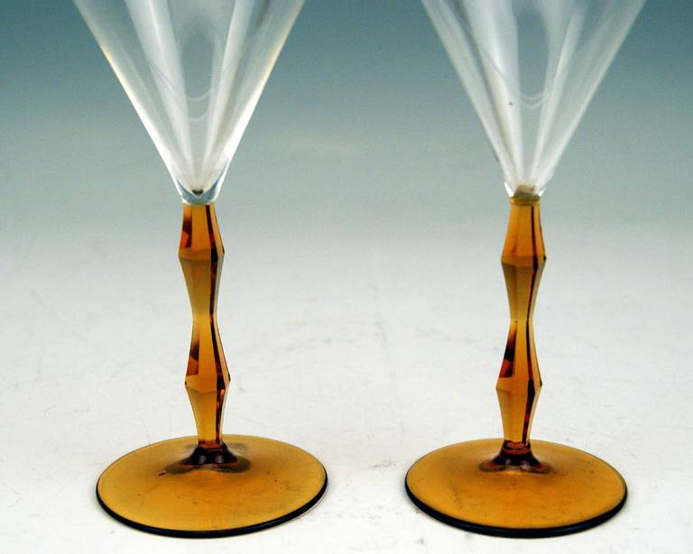 20th Century Art Deco Set of Two Liqueur Glasses by Josef Hoffmann, Made circa 1920 For Sale