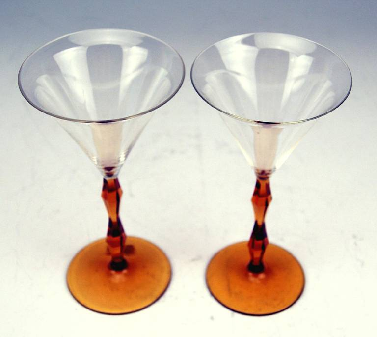 Art Deco Set of Two Liqueur Glasses by Josef Hoffmann, Made circa 1920 For Sale 1