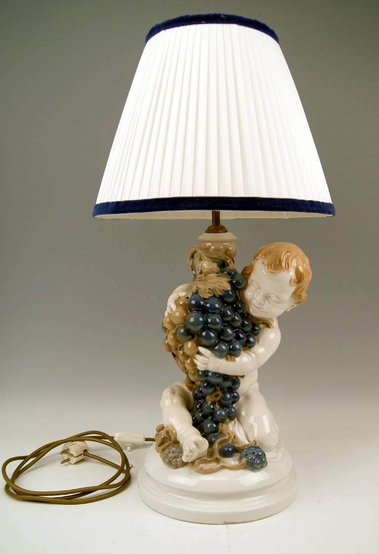 Rosenthal Germany Huge Cherub Table Lamp by Constantin Holzer-Defanti circa 1920 2