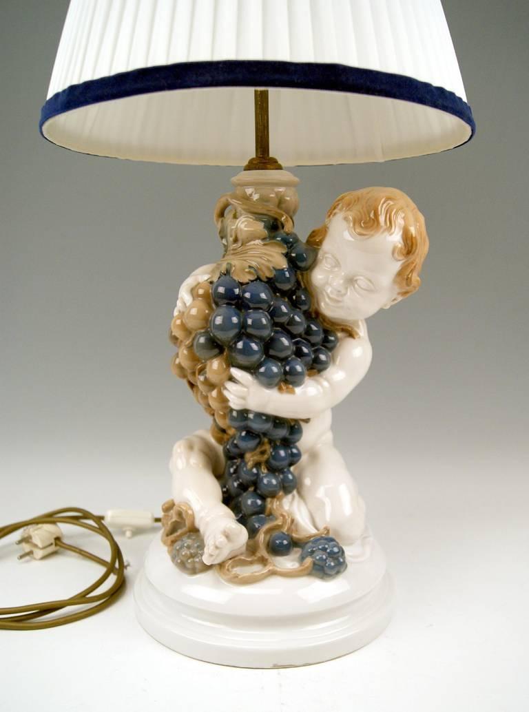 Rosenthal Germany Huge Cherub Table Lamp by Constantin Holzer-Defanti circa 1920 3