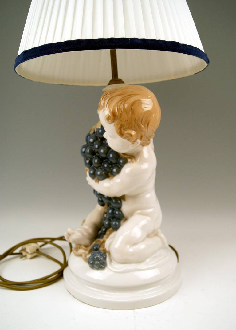 20th Century Rosenthal Germany Huge Cherub Table Lamp by Constantin Holzer-Defanti circa 1920 For Sale