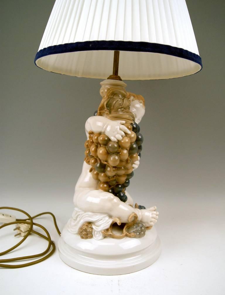 Rosenthal Germany Huge Cherub Table Lamp by Constantin Holzer-Defanti circa 1920 5