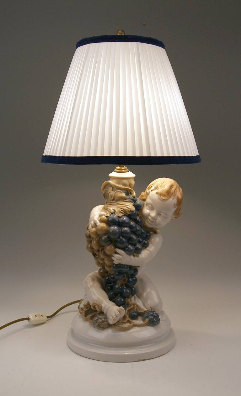 Rosenthal Germany Huge Cherub Table Lamp by Constantin Holzer-Defanti circa 1920 For Sale 5
