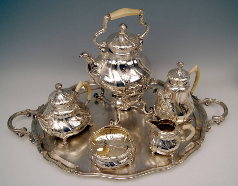 Victorian Silver Coffee Tea Set with Tray and Kettle, 278.65 oz, Germany, c. 1890 For Sale