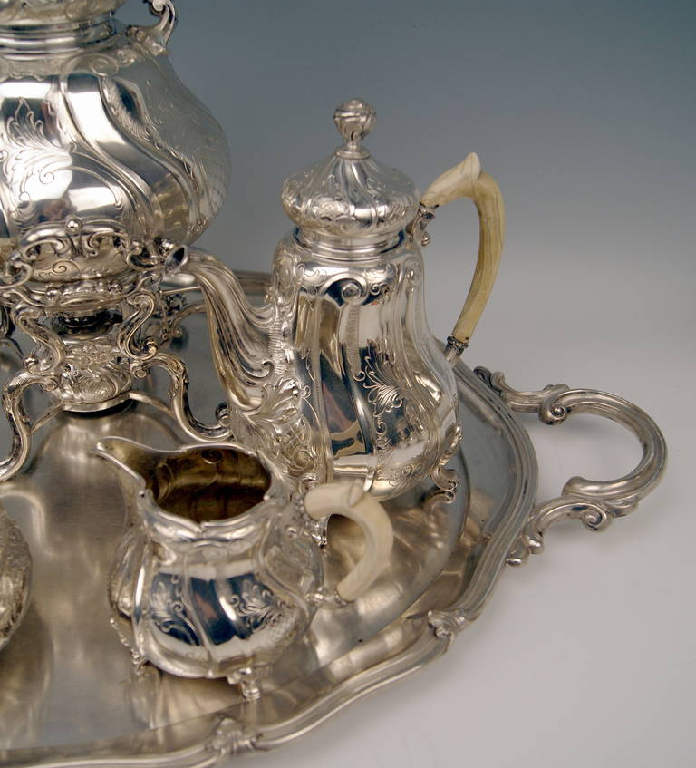 Silver Coffee Tea Set with Tray and Kettle, 278.65 oz, Germany, c. 1890 In Excellent Condition For Sale In Vienna, AT