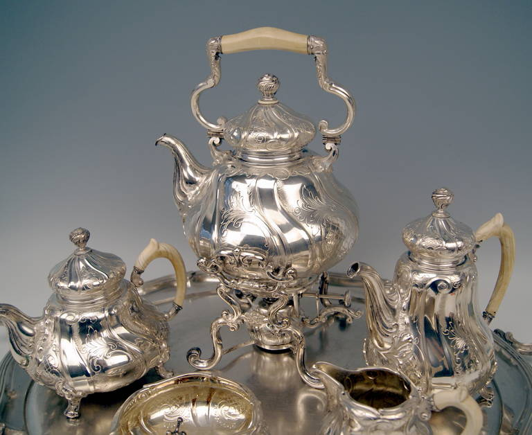 20th Century Silver Coffee Tea Set with Tray and Kettle, 278.65 oz, Germany, c. 1890 For Sale