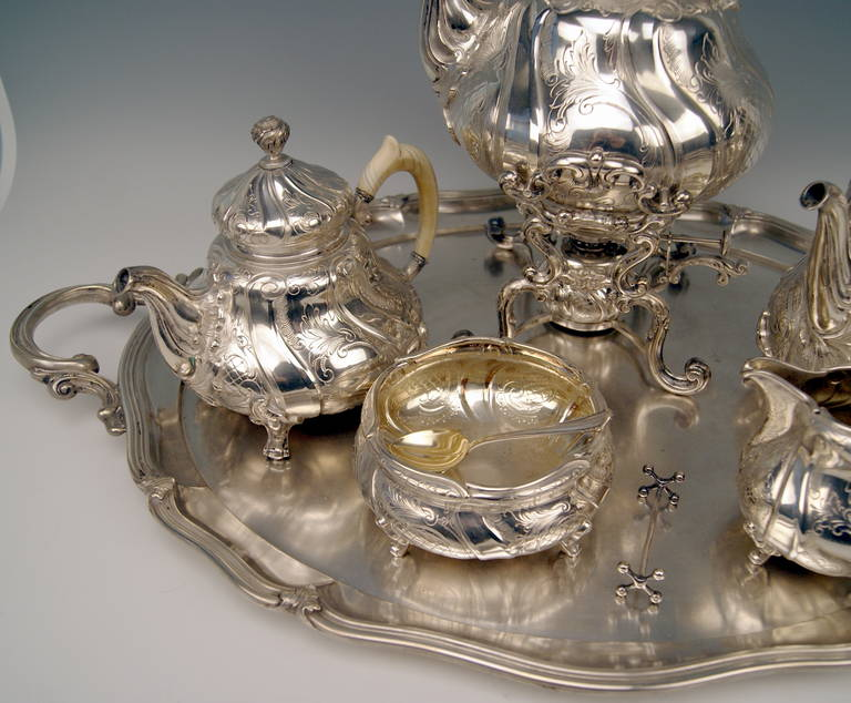 Silver Coffee Tea Set with Tray and Kettle, 278.65 oz, Germany, c. 1890 For Sale 1