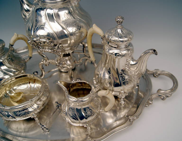 Silver Coffee Tea Set with Tray and Kettle, 278.65 oz, Germany, c. 1890 For Sale 2
