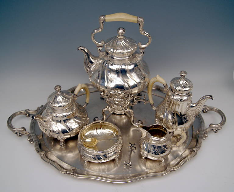 Silver Coffee Tea Set with Tray and Kettle, 278.65 oz, Germany, c. 1890 For Sale 3