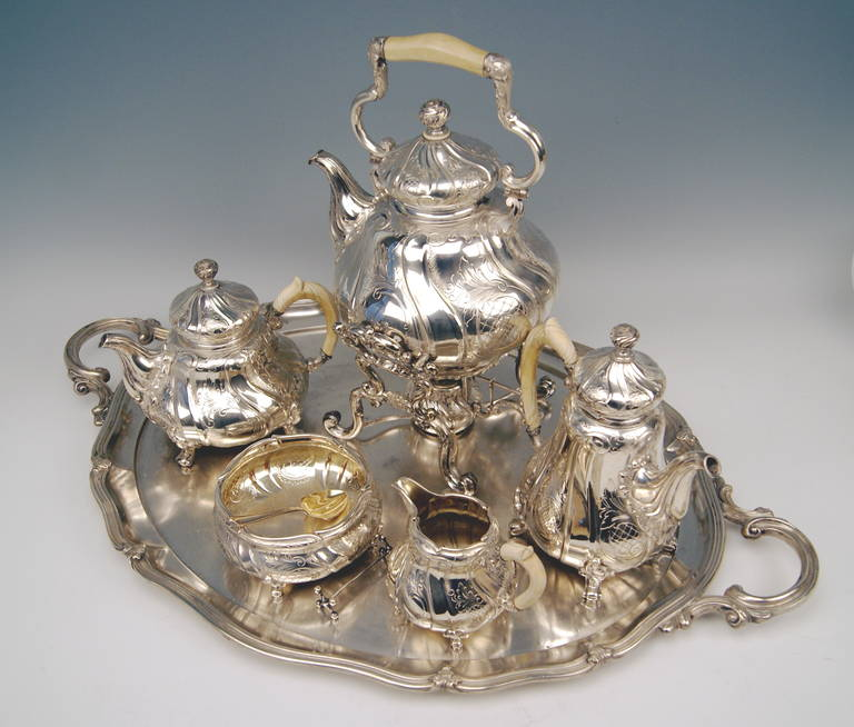 Silver Coffee Tea Set with Tray and Kettle, 278.65 oz, Germany, c. 1890 For Sale 5
