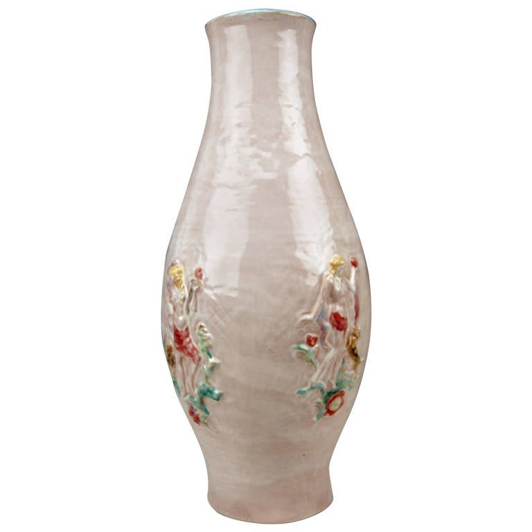 Austrian Huge Ceramics Keramos Vase Designed by Susi Singer, circa 1925 For Sale