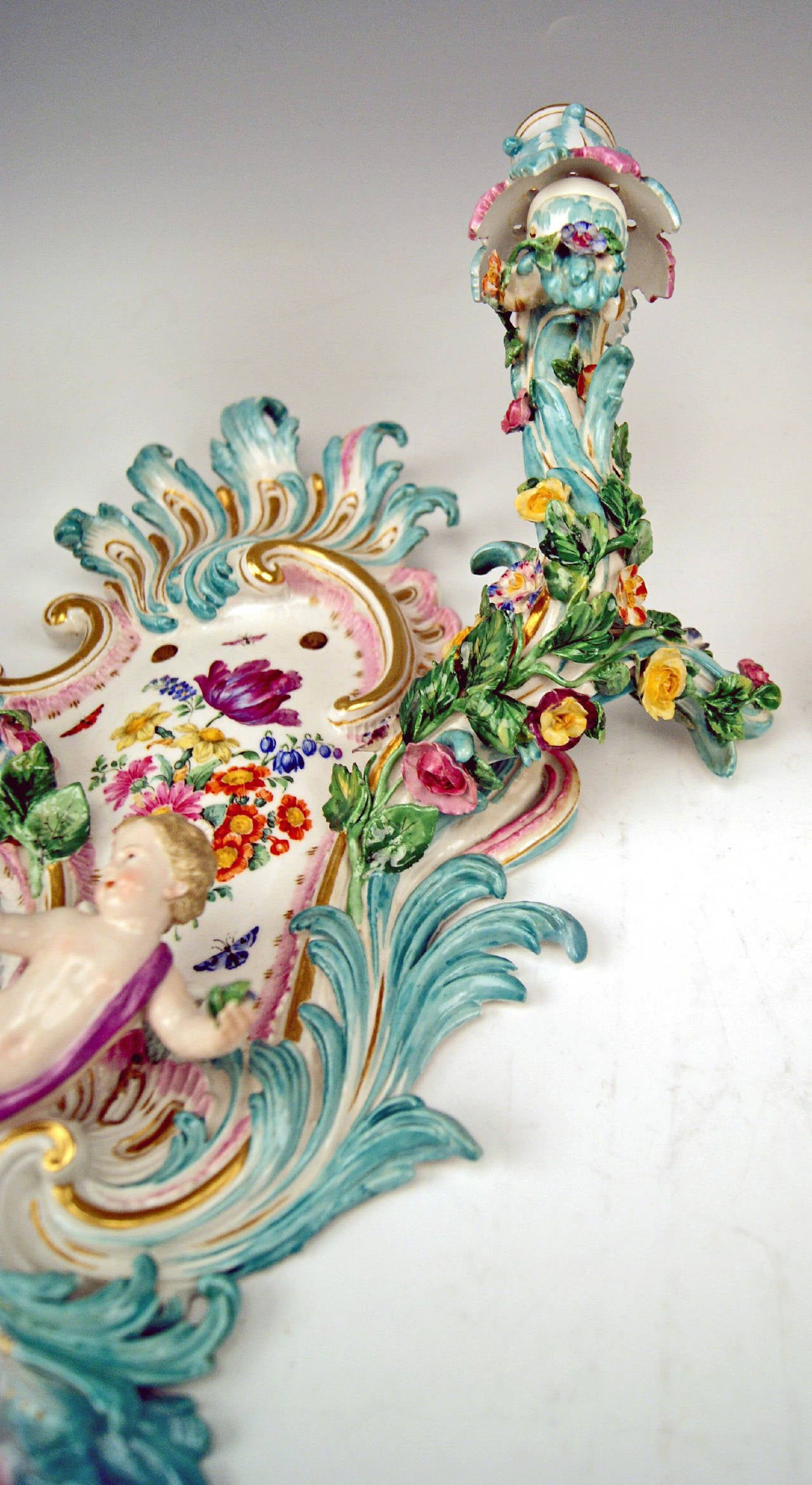 Porcelain Meissen Pair of Sconces Flowers and Cherubs Vintage Made, circa 1860-1870 For Sale