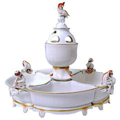 Meissen Art Deco Centrepiece Bowl with Monkey and Cockatoo by Max Esser
