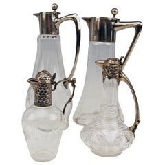 Silver Set of Four Gorgeous Carafes Pitchers Vintage Germany, 1900 - 1910