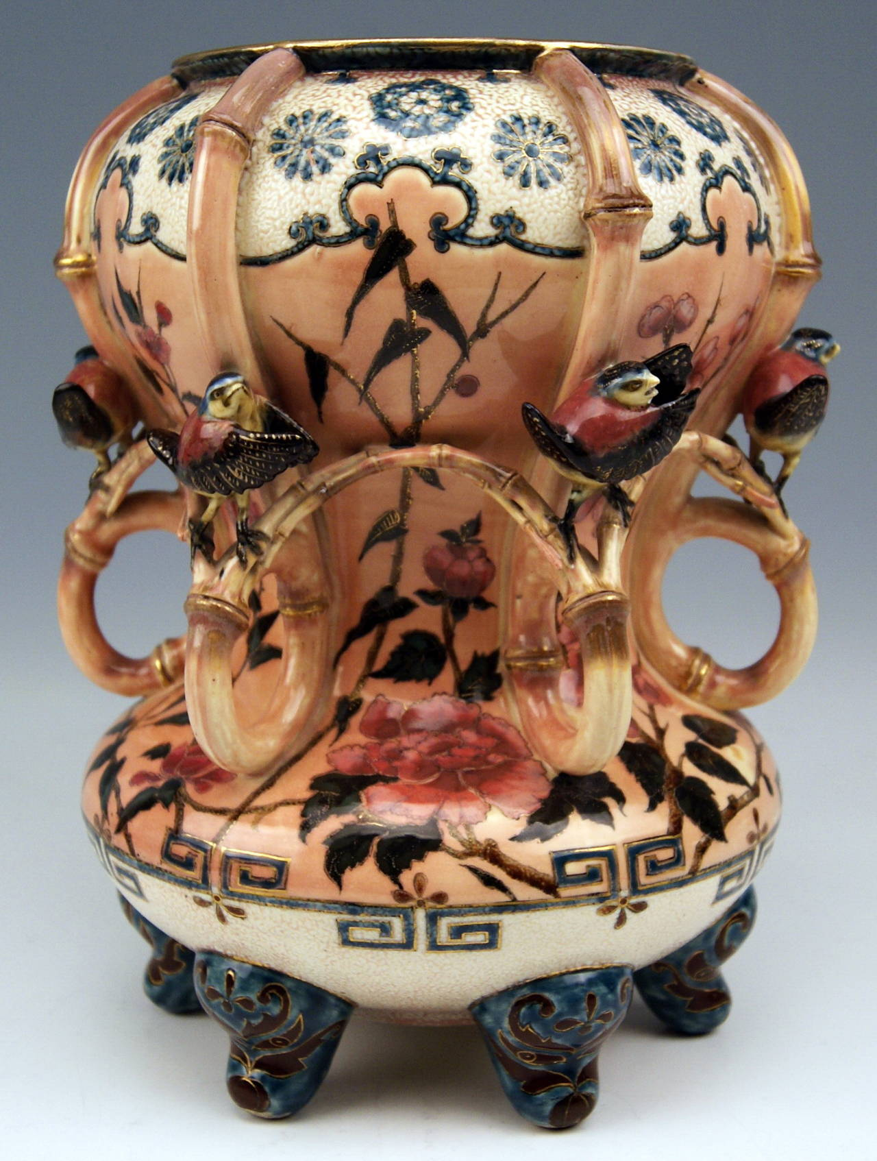 Zsolnay Vintage and Rare Vase with Birds Abundantly Decorated, circa 1882-1885 2