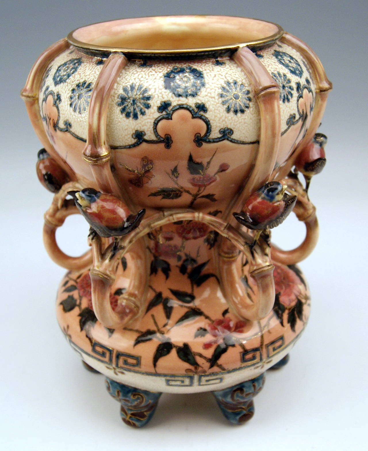 Zsolnay Vintage and Rare Vase with Birds Abundantly Decorated, circa 1882-1885 7