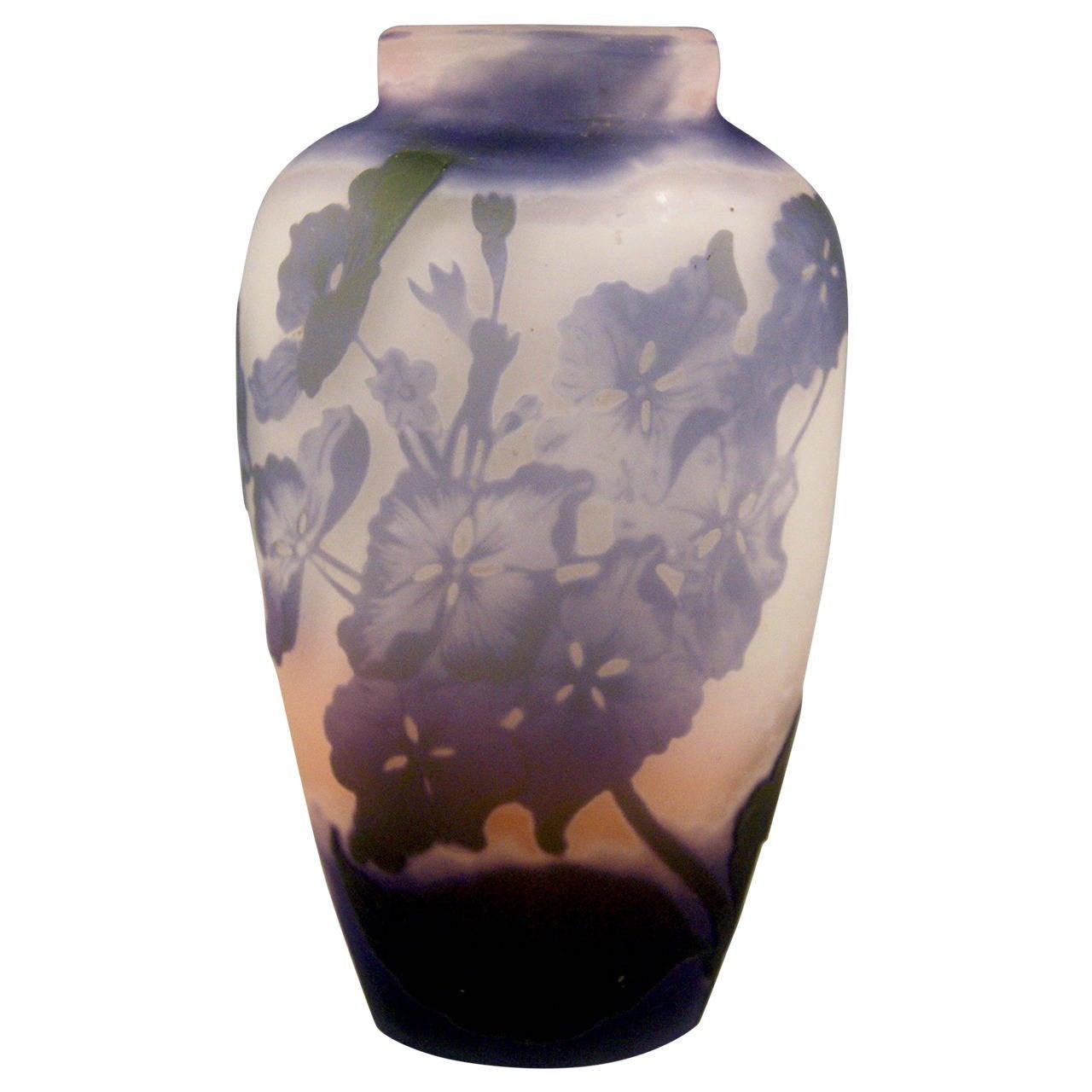 Gallé Nancy Vase Blossoms of Mallows Art Nouveau France Lorraine c. 1904
