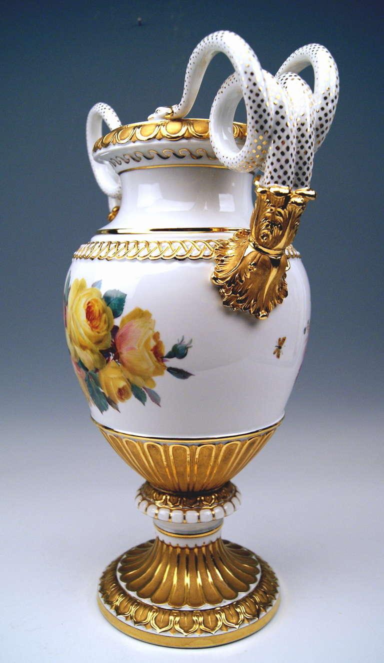 Meissen Snake Handles Vase Pfeiffer Period 20th C At 1stdibs