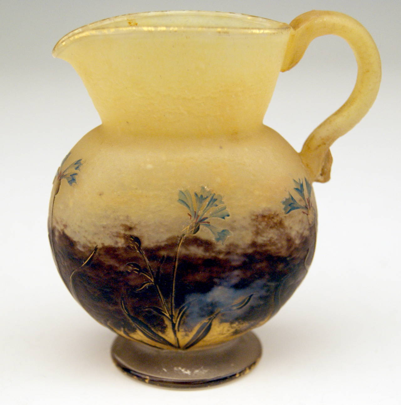 19th Century Daum Nancy Small Jug with Cornflowers Art Nouveau France Lorraine c. 1900 For Sale