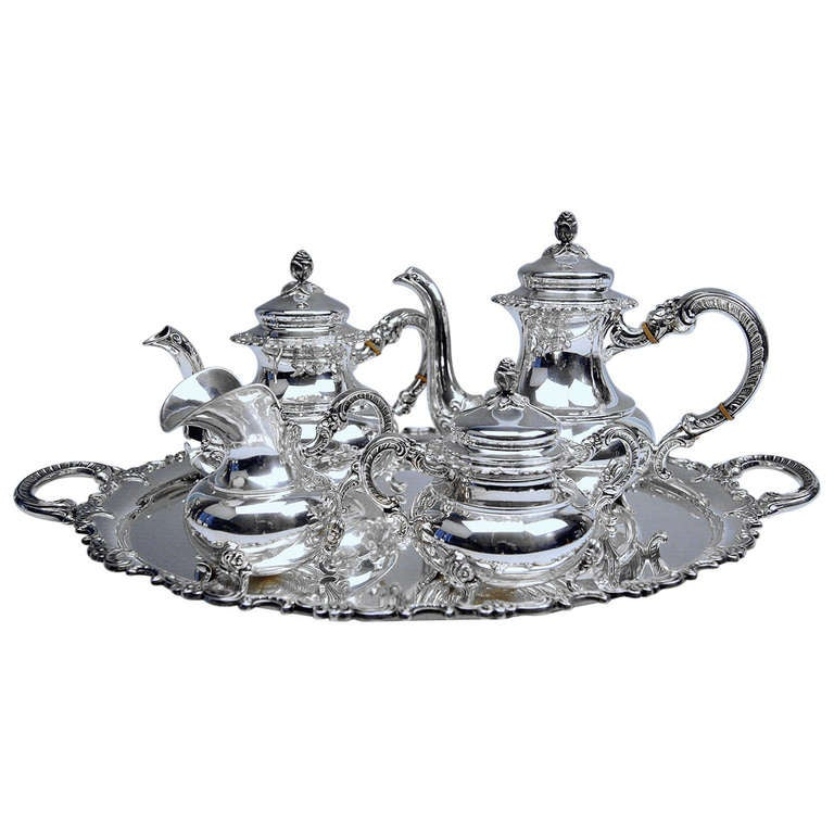 Sterling Silver Coffee Tea Set German made by Gayer and Krauss early 20th c.