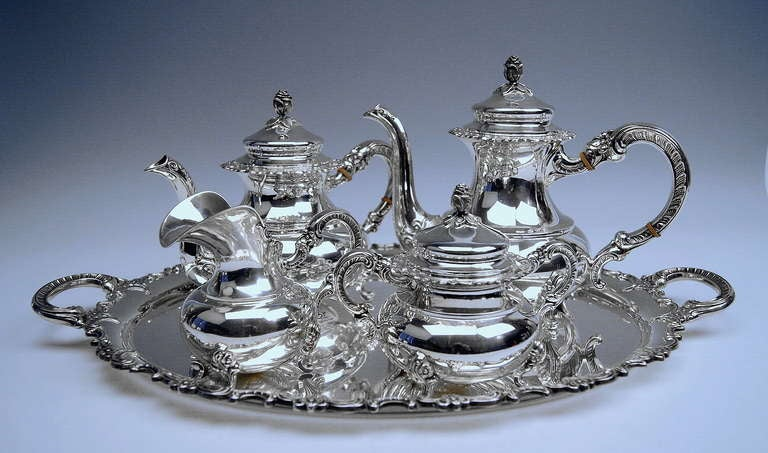 Stunning Sterling Silver Coffee Tea Set Consisting Of Following Parts Pot
