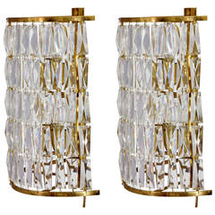 Pair of High Quality Vienna Crystal Glass Sconces, Attributed Bakalowits & Sohne