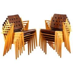 """Ten Stacking """"Austro Chairs"""" by Franz Schuster, Vienna, 1953"""