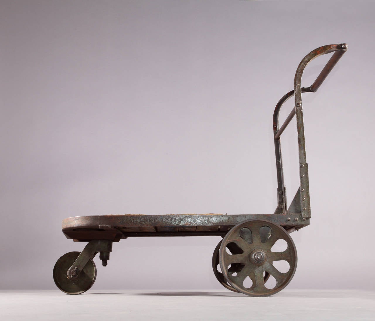 Early 20th Century Rolling Industrial Cart With Cast Iron