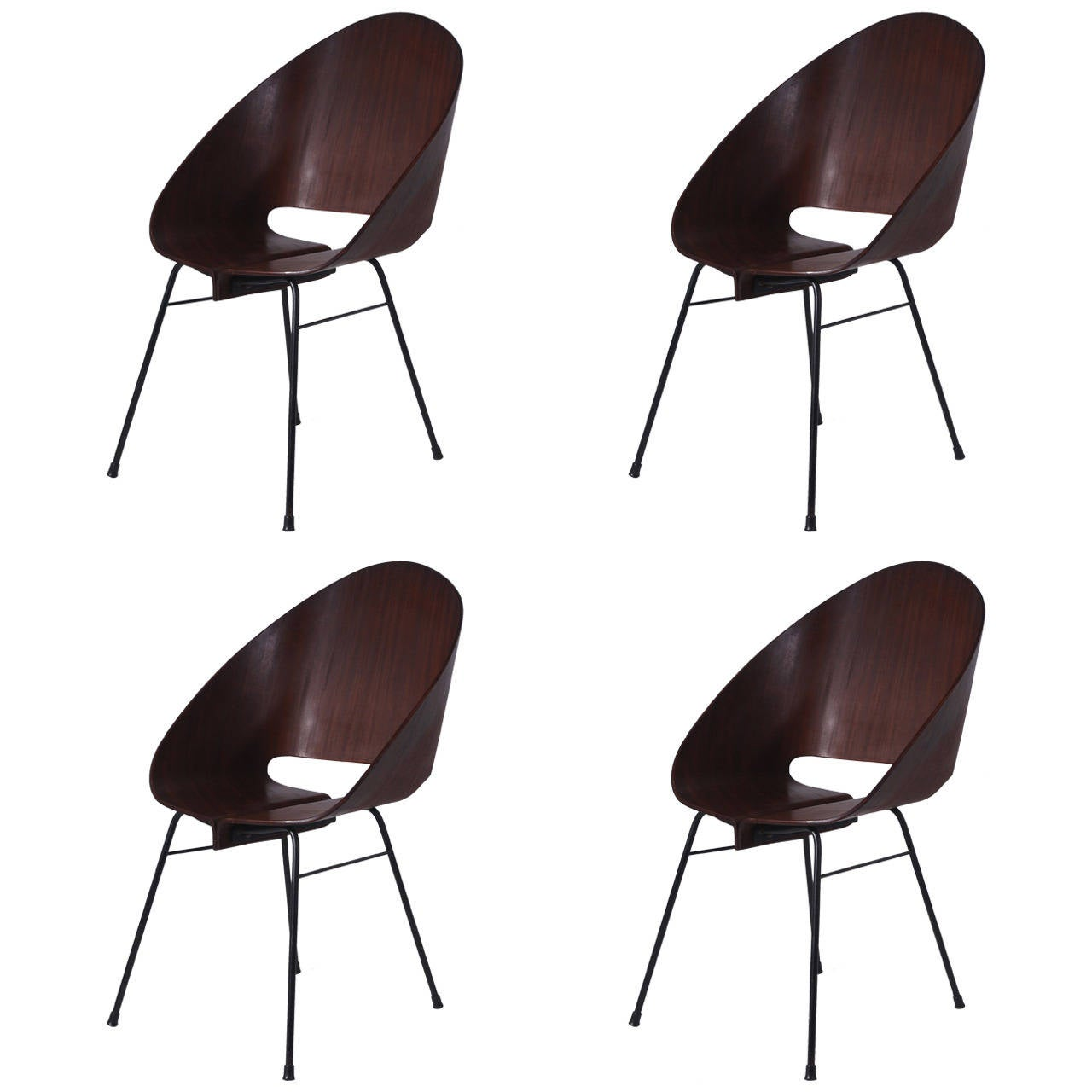 four molded plywood stacking chairs attributed to vittorio nobili