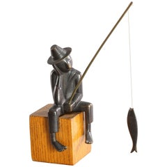 Werkstaette Hagenauer Sitting Fisherman Sculpture, 1950