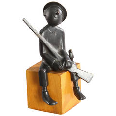 Werkstaette Hagenauer Sitting Hunter Sculpture, 1950