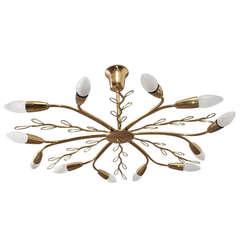 Beautiful J.T.Kalmar Brass Leaves Sputnik Chandelier-Vienna, 1960