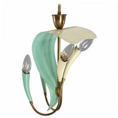 Enameled Stilnovo Hanging Lamp, Italy, 1950