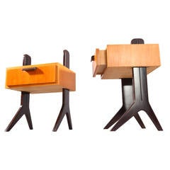 Two Bedside Nightstands, Designed Professor Reinhold Stotz, Germany, 1950