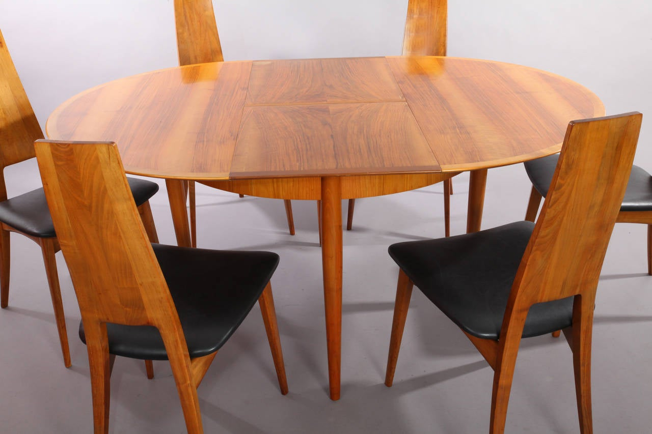 Dining Table Set With Six Chairs, Extendable Table, Designed By Ernst  Martin Dettinger,