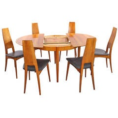 Extendable Dining Table with Six Chairs, Solid Cherry, Production Lübke