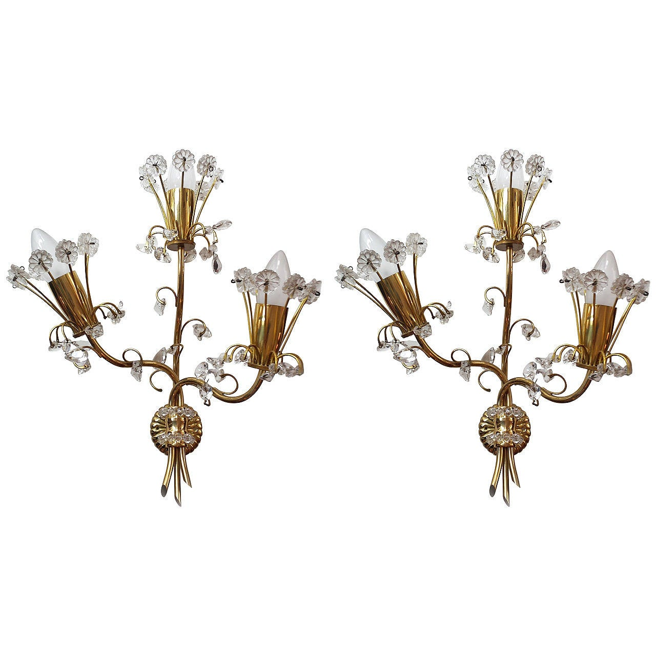 Pair of Crystal Glass Wall Sconces, Production Lobmeyer, Vienna, 1950 at 1stdibs