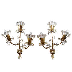 Charming Pair of Modernist Wall Lamps Manufactured by Lobmeyr, Vienna, 1950