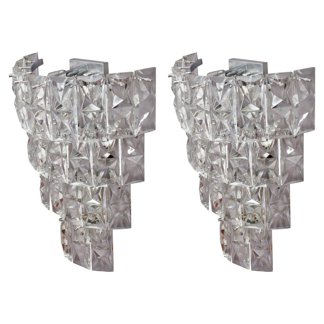 Amazing Pair of Huge Crystal Glass Sconces by Kinkeldey, 1950