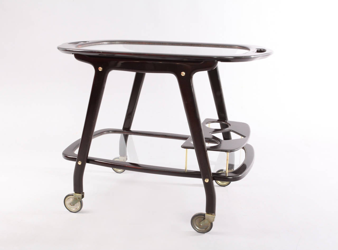 20th Century Italian Bar Cart Designed by Cesare Lacca with Serving Tray For Sale
