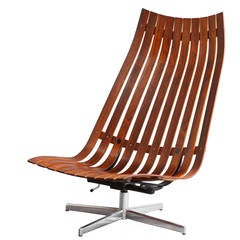 """Hans Brattrud """"Scandia"""" Swivel Lounge Chair for Hove Mobler in Rosewood"""