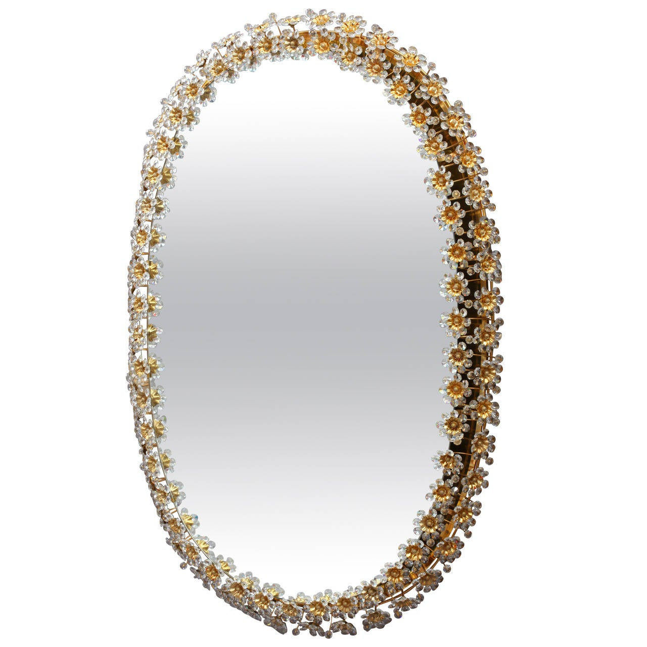 Amazing illuminated crystal glass mirror by palwa with gilded oval amazing illuminated crystal glass mirror by palwa with gilded oval frame 1 amipublicfo Image collections