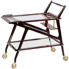 Amazing Walnut Bar Cart by Cesare Lacca, Italy, 1950