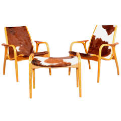 Two Lamino Armchairs with Ottoman, Tri-Colored Cowskin, Designed by Ekström