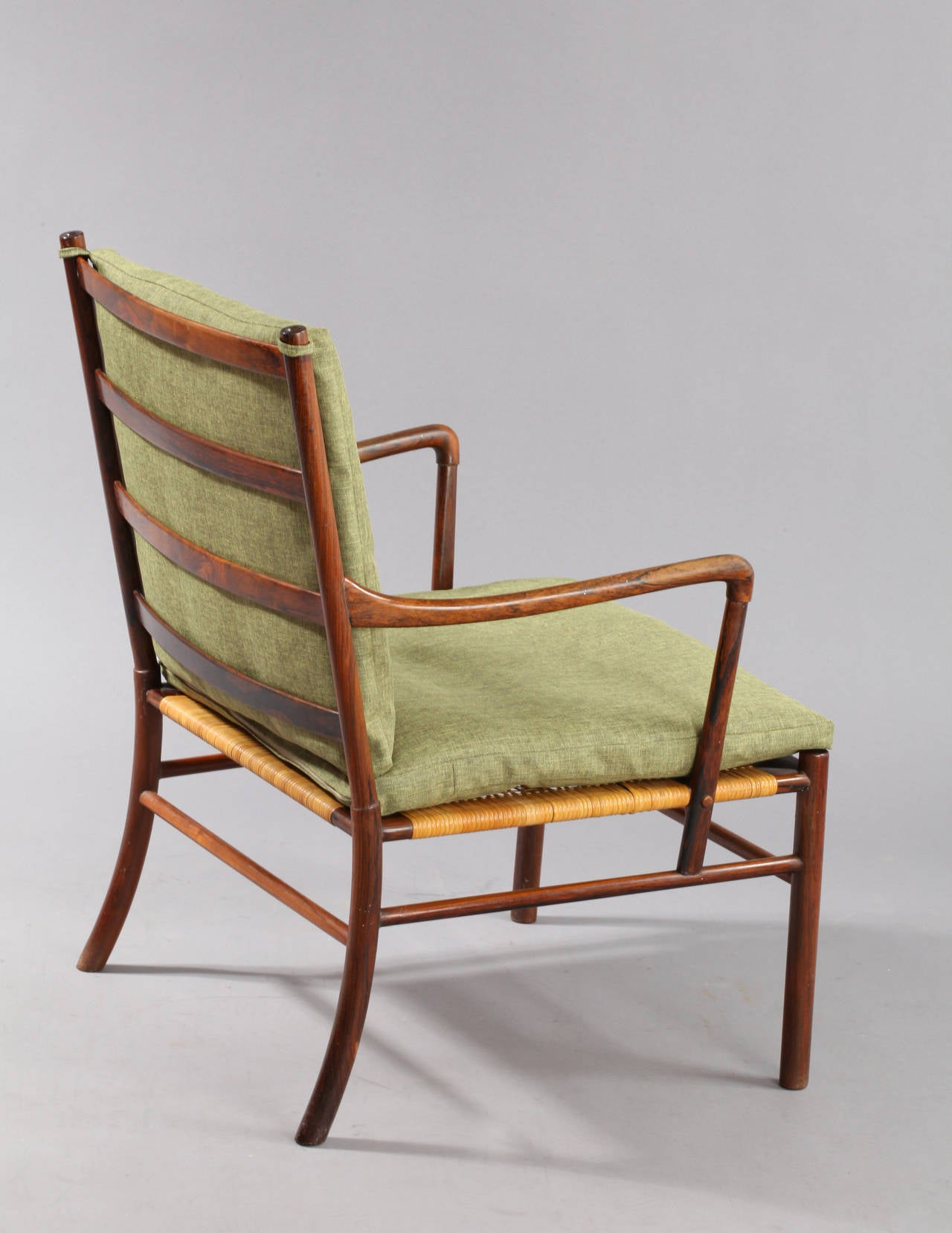 Pair of rosewood colonial chairs by ole wanscher for p for P jeppesen furniture