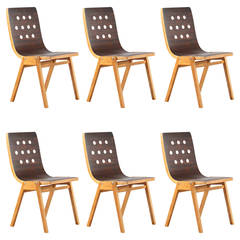 Rare Set of Six Austrian Stacking Chairs, First Edition by Roland Rainer