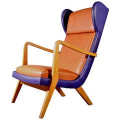 Amazing Italian Armchair with Brown and Blue Leather, Mailand, 1950